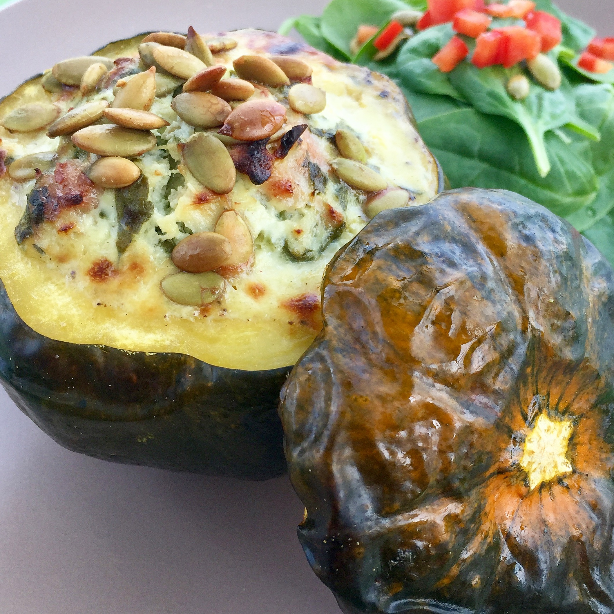 Goat Cheese Pancetta Apple and Spinach Stuffed Peppermint Squash & Appetizers