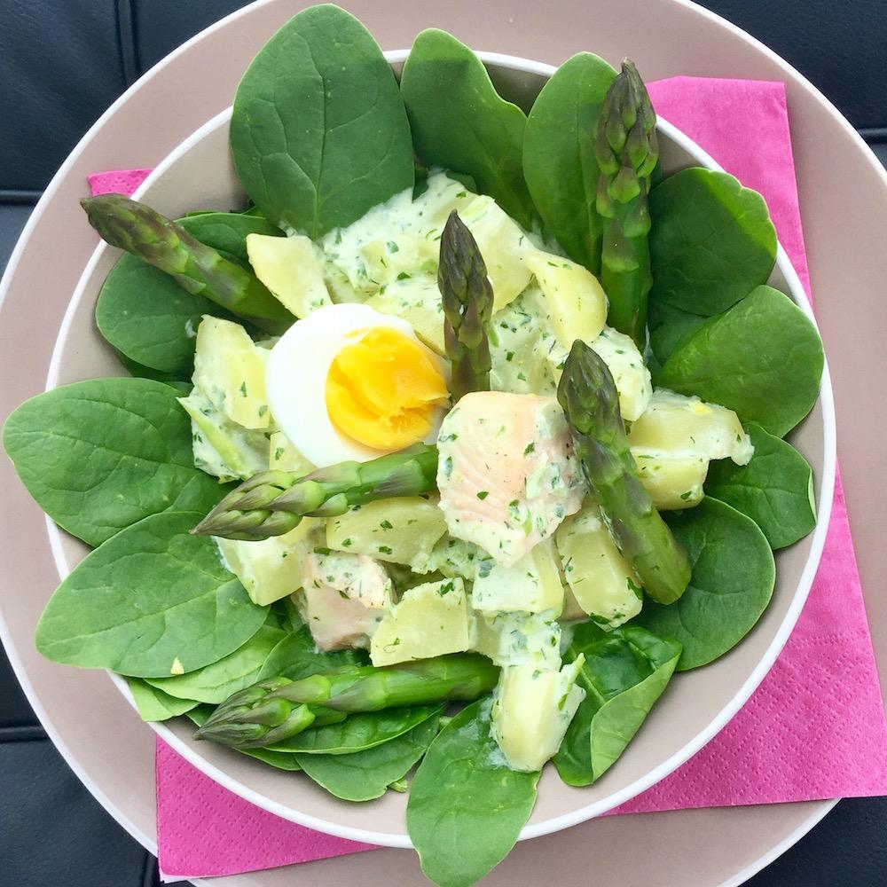 Potato, Spinach, Salmon, Asparagus and Egg Salad